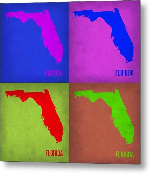 Florida Pop Art Map 1 Metal Print