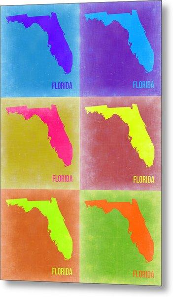 Florida Pop Art Map 2 Metal Print