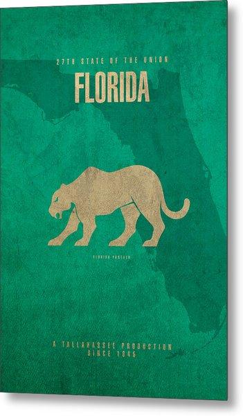 Florida State Facts Minimalist Movie Poster Art  Metal Print