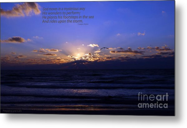 Florida Sunset Beyond The Ocean  - Quote Metal Print