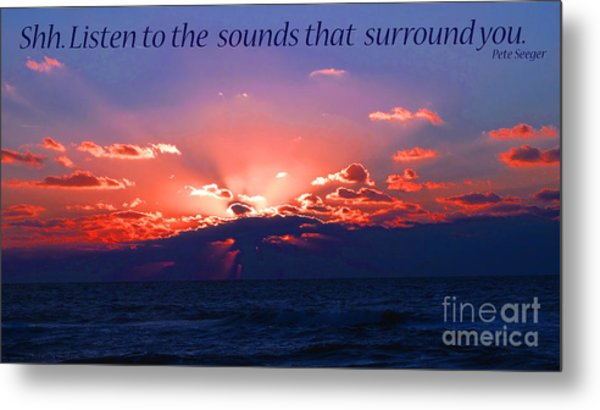 Florida Sunset Beyond The Ocean - Shh Metal Print