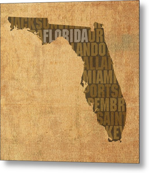 Florida Word Art State Map On Canvas Metal Print