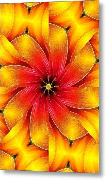 Flower Close-up--fractalius Kaleidoscope Metal Print