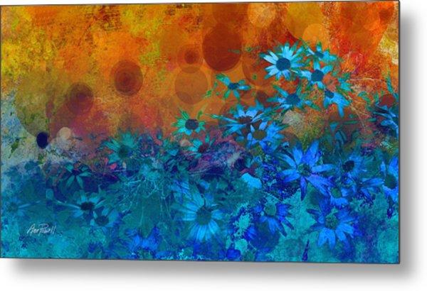 Flower Fantasy In Blue And Orange  Metal Print