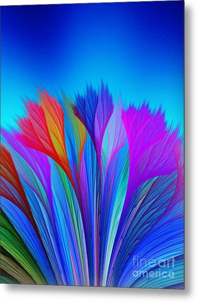 Flower Fantasy In Blue Metal Print