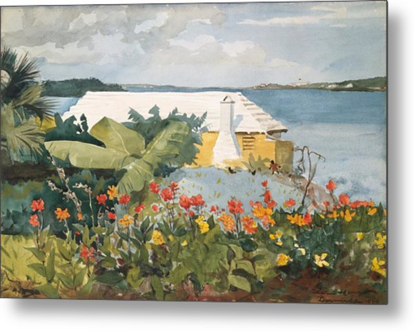 Metal Print featuring the painting Flower Garden And Bungalow by Celestial Images
