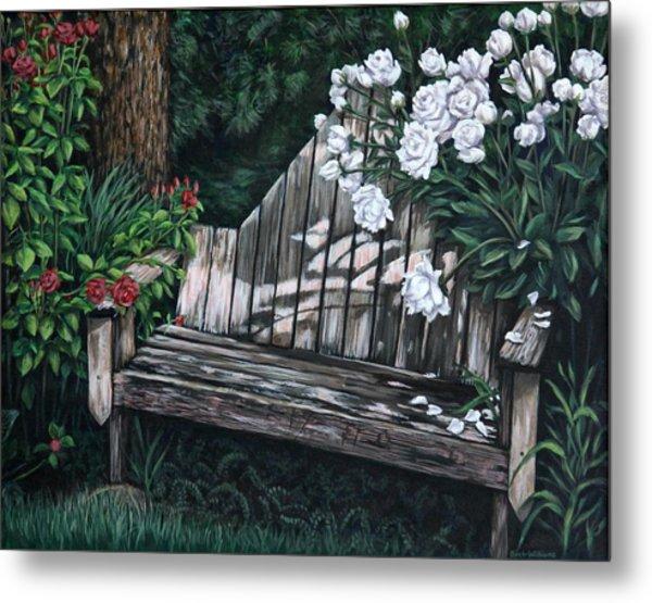 Flower Garden Seat Metal Print