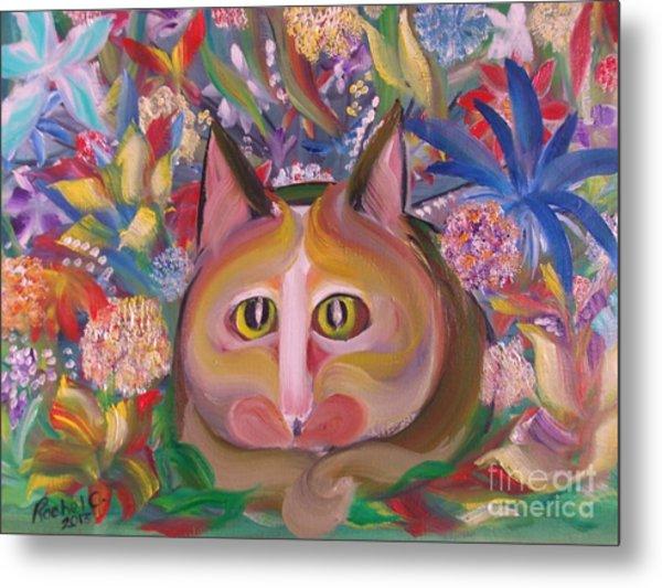 Flower Kitty Metal Print