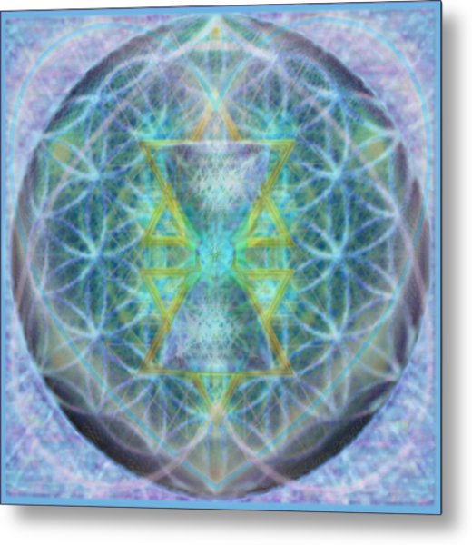 Flower Of Life Forested Chalice In Subtle Bluelavs Metal Print by Christopher Pringer