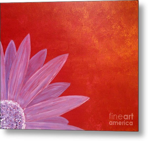 Flower On Metallic Background Metal Print