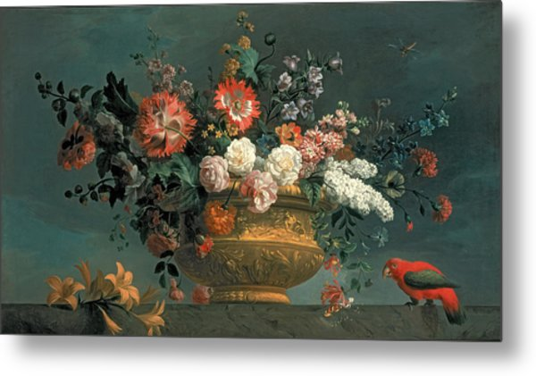 Flower Piece With Parrot Metal Print