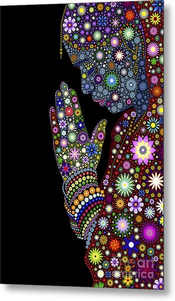 Flower Prayer Girl Metal Print