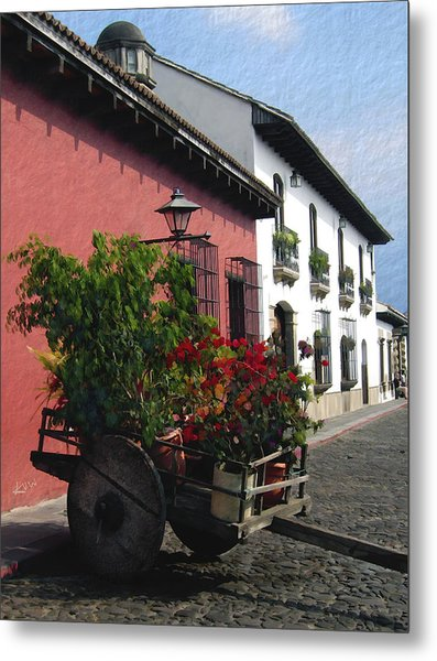 Flower Wagon Antigua Guatemala Metal Print