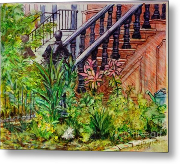 Flowers And Balustrade Eighth Street Metal Print