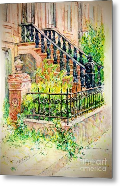 Flowers And Balustrade Ninth Street Metal Print