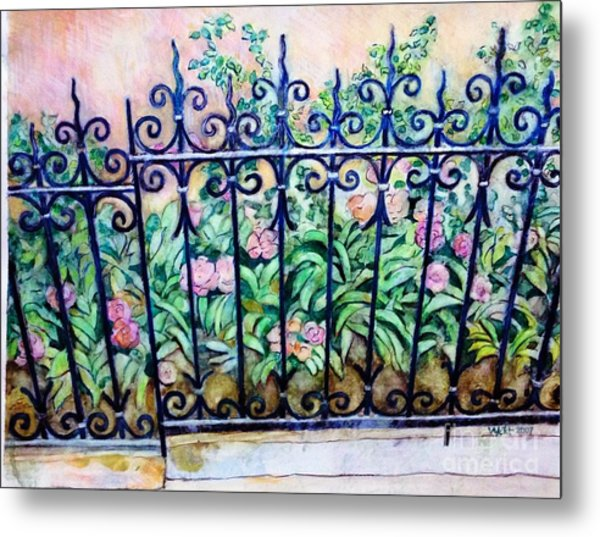 Flowers And Fence On Eighth Avenue Metal Print