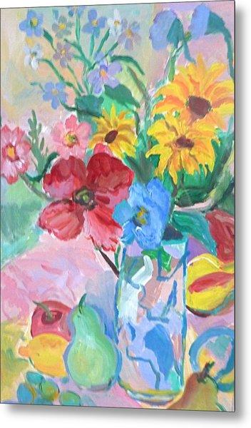 Flowers And Fruits Metal Print by Brenda Ruark