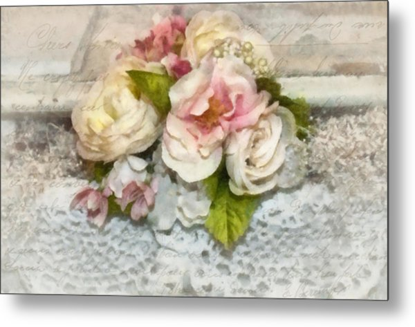 Flowers And Lace Metal Print by Kathy Jennings