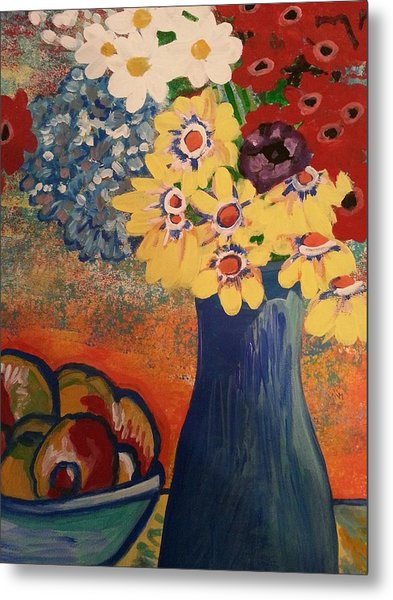 Flowers And Oranges Metal Print