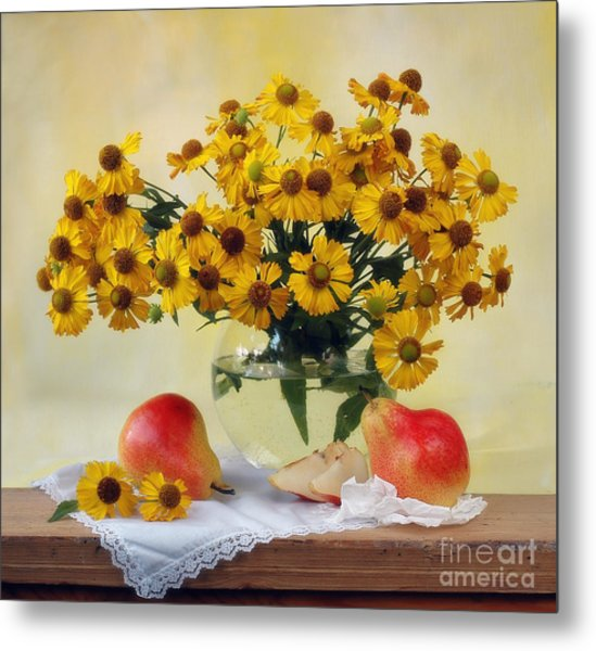 Flowers And Pears Metal Print by Irina No
