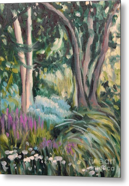 Flowers And Shade Metal Print by Hilary England