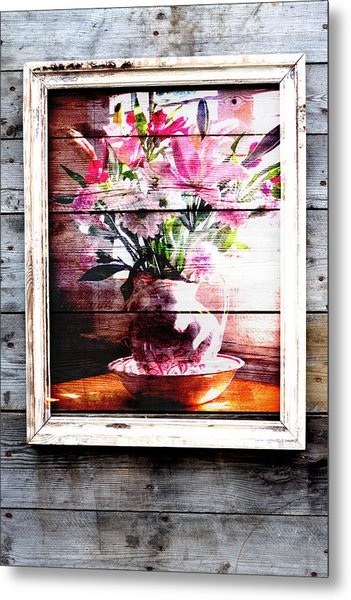 Flowers And Wood Metal Print