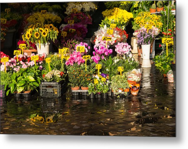 Flowers For Sale At Campo De Fiori - My Favourite Market In Rome Italy Metal Print