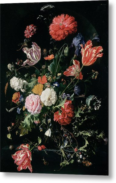 Flowers In A Glass Vase, Circa 1660 Metal Print