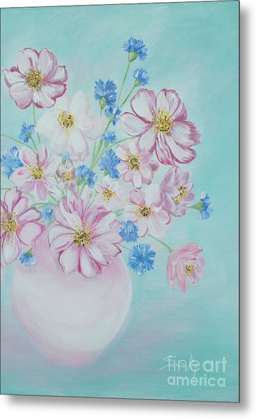 Flowers In A Vase. Inspirations Collection Metal Print