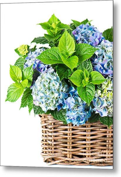 Flowers In Basket Metal Print