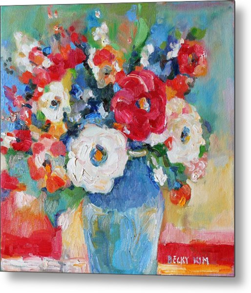 Flowers In Blue Vase 1 Metal Print