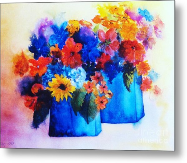 Flowers In Blue Vases Metal Print