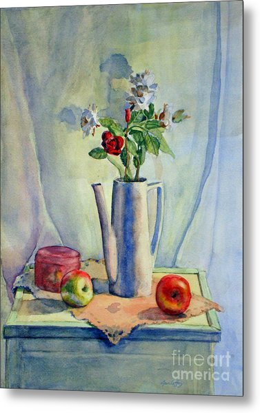 Flowers In Pitcher With Apples Metal Print