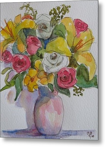 Vase With Flowers  Metal Print by Janet Butler