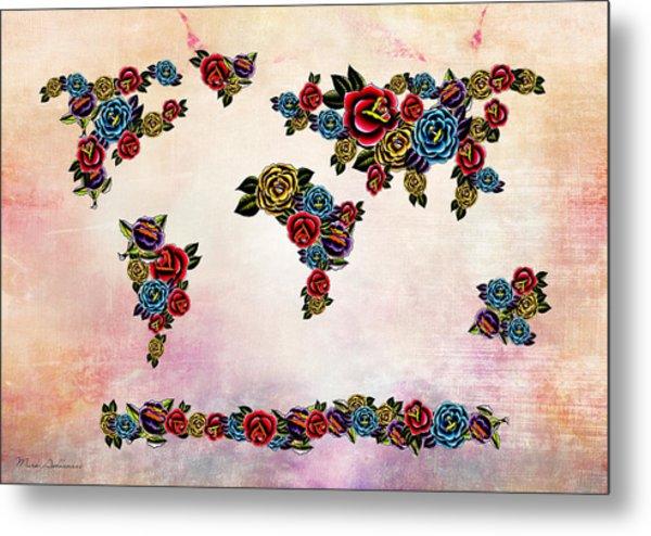 Flowers Map  Metal Print