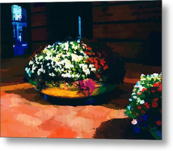 Flowers On The Canal Metal Print