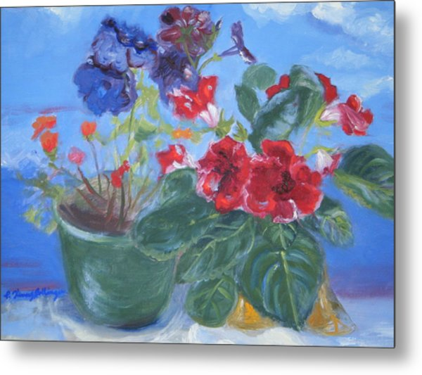 Flowers With The Sky  Metal Print by Patricia Kimsey Bollinger