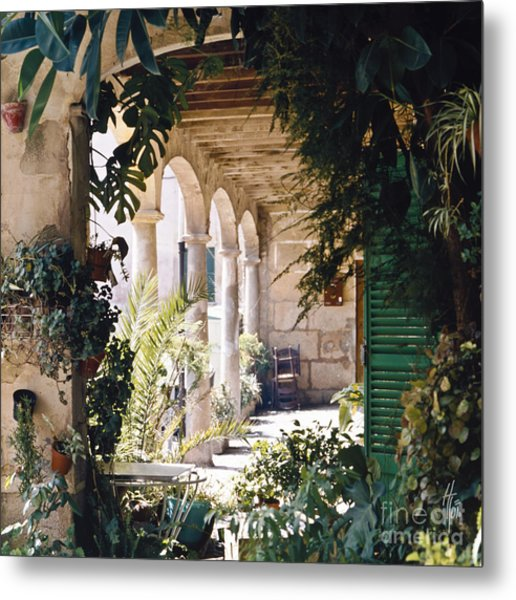 Flowery Majorquin  Patio In Valdemosa Metal Print