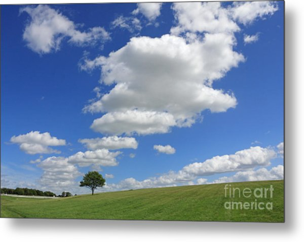Fluffy Clouds Over Epsom Downs Surrey Metal Print