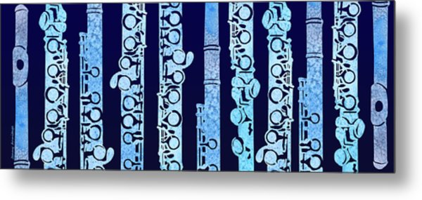 Flutes In Blue Metal Print