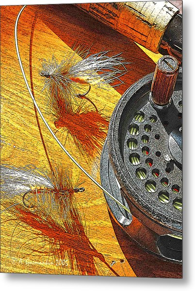 Fly Fisherman's Table Digital Art Metal Print