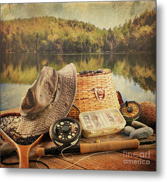 Fly Fishing Equipment  With Vintage Look Metal Print
