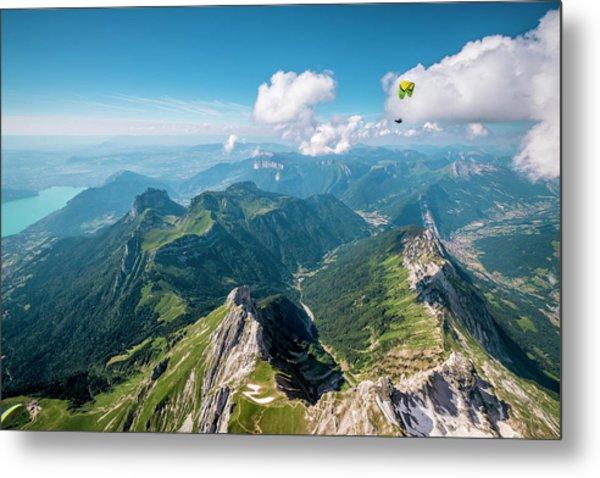 Flying Above La Tournette With Francis Boehm bimbo Metal Print by Tristan Shu