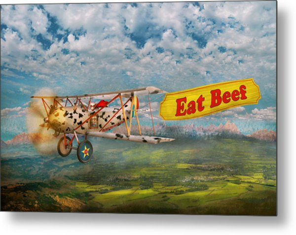 Flying Pigs - Plane - Eat Beef Metal Print