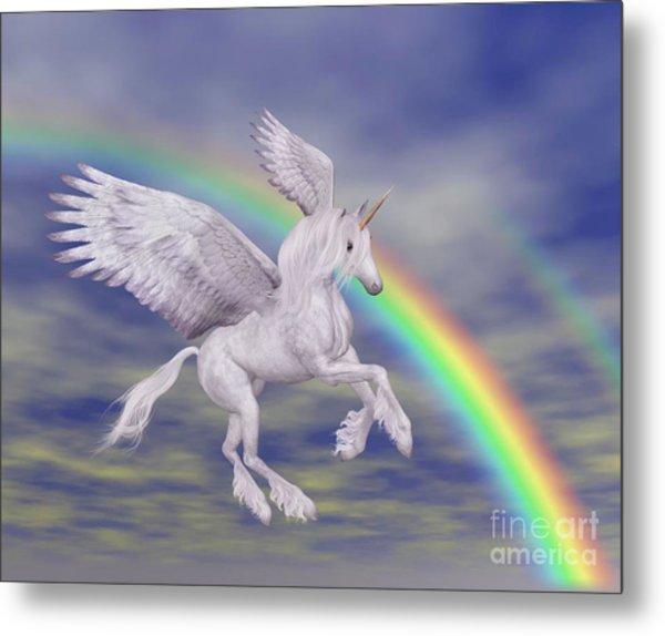 Flying Unicorn And Rainbow Metal Print