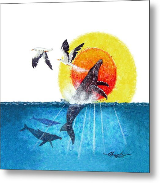 Flying With Whales Metal Print