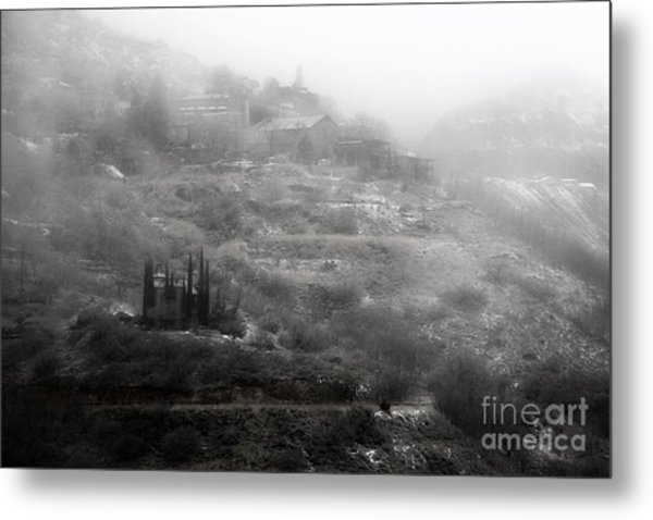 Fog And Snow With Powderbox Church In Jerome Az Metal Print