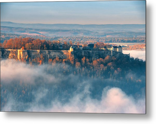 Fog Around The Fortress Koenigstein Metal Print