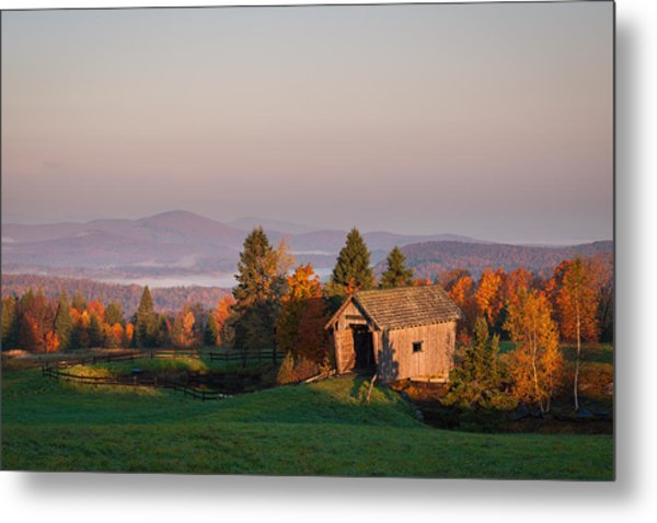 Fog In The Valley Metal Print