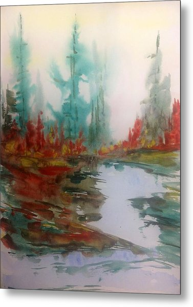 Fog In The Woods - Fall Metal Print by Desmond Raymond